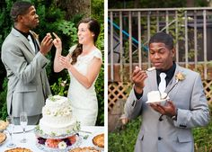 Let them eat cake! | See more of this gorgeously romantic #wedding here: http://www.mywedding.com/articles/christian-and-camilles-sweet-columbia-gorge-wedding-by-powers-photography-studios/