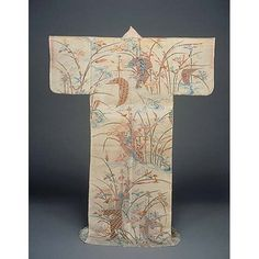 Katabira (Summer Kimono) with Sailboats and Irises in Yuzen Dyeing on White Ramie Ground, Edo Period, Kyoto National Museum Japanese Kimono, Japanese Art, Whatsoever Things Are Lovely, Summer Kimono, Edo Period, Fabric Paper, Sailboats, Boro, Irises