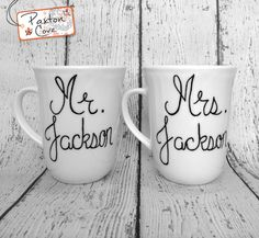 Mr. & Mrs. Mugs for $25. Personalizations available upon request.  Shop now  #Deals #mugs #Dealoftheday