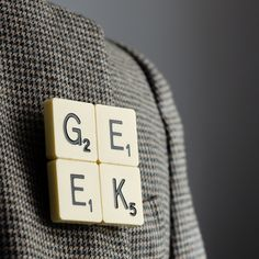 GEEK Scrabble Brooch (and other Scrabble brooches from bookishengland.co.uk #CoolestThings