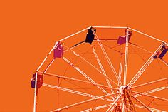 Ferris Wheel Painting - Orange Ferris Wheel by Glennis Siverson