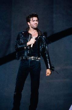 George Michael performing at the Wham! final show in London in 1986.