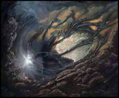 Morgoth and Ungoliant - Morgoth, the fallen Valar, grapples with Ungoliant for the Silmaril.