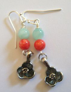 Pewter Hibiscus earrings with jade beads
