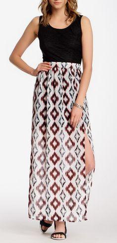 Want & Need Printed Bottom Maxi Dress