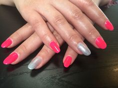 Fluorescent pink and subtle silver  Nails by | Bex Fisher