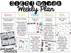 Teach Your Child to Read - First Grade Garden: Daily Schedule - Sight Words and Poetry/Phonics - Give Your Child a Head Start, and.Pave the Way for a Bright, Successful Future. Teaching Sight Words, Phonics Words, Sight Word Practice, Sight Word Games, Sight Word Activities, Phonics Lessons, Listening Activities, Alphabet Activities, Mind Maps