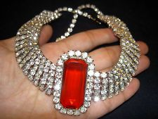 Vintage Juliana Red Crystal Rhinestone Cleopatra Runway Collar Choker Necklace