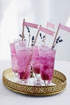 Plum-colored drinks at the reception! 44 Loveliest #Lavender #Wedding #Details