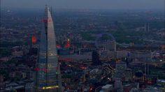 Dusk and night aerial footage over London. by JasonHawkes. Shard, buckingham palace, Westminster, London Eye, Trafalgar Square, Leicester Square, London, aerial footage, Heron Tower, Tower Bridge,