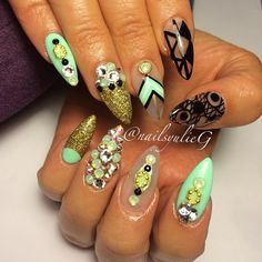 Mint Black and Gold Bling Almond Stiletto Nails @nailsyulieg