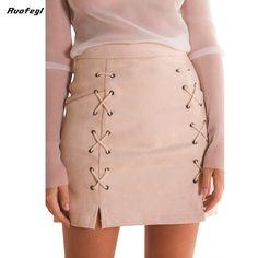 Ruofegl Sexy lace up pencil skirts Women jupe gothique skirt elegant hollow out black tulle midi skirt 2017 bodycon saia midi
