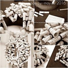 Made-by-May: Kranz aus alten Buchseiten Diy Crafts To Do, Upcycled Crafts, Book Crafts, Paper Crafts, Simple Christmas, Christmas Crafts, Christmas Wreaths, Origami, Pineapple Glaze