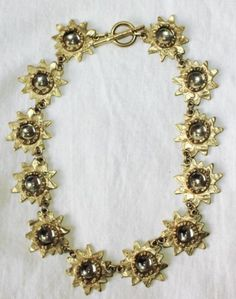 Fabulous French Designer Biche de Bere Necklace Golden Flowers With Shiny Glass Mirror center Golden Flower, Jewelry Design, French, Mirror, Bracelets, Glass, Flowers, Fashion Design, Ebay
