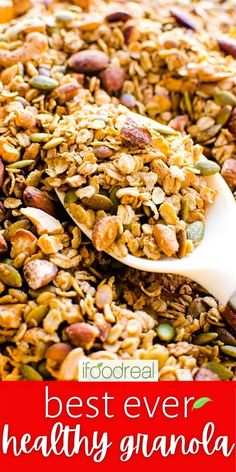 This Healthy Granola combines rolled oats, dried fruits, seeds, nuts, spices, and natural sweeteners. Loaded with flavour, this easy and delicious grab-n-go snack is a must-try! Easy Granola Recipe Healthy, Clean Recipes, Healthy Dinner Recipes, Healthy Breakfast Recipes, Healthy Snacks, Healthy Family Meals, Rolled Oats, Lab, Seeds