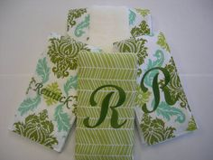 Damask and Herringbone Embroidered Set of 4 by TwirlyGirlyCouture, $78.00