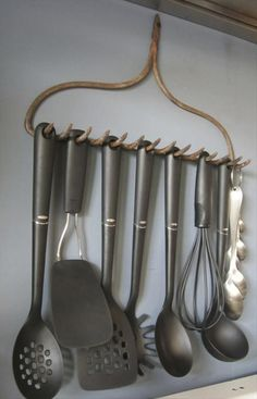 reuse old yard tools, kitchen ideas.  Cute above the stove