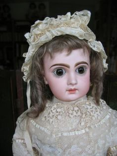 Jumeau closed mouth 22 inches brown paperweight eyes. from dollcabinet on Ruby Lane