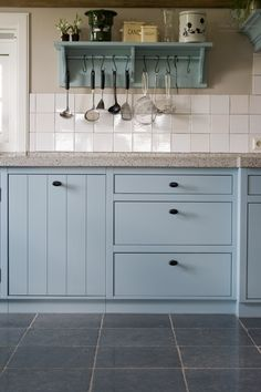 Kitchen - keuken - painted in the colour Barbedos Blue Diy Kitchen Island, Ikea Kitchen, Rustic Kitchen, Country Kitchen, Kitchen Decor, Kitchen Design, Kitchen Cabinets, Kitchen Paint, Kitchen Ideas
