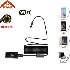 Stardot WiFi Endoscope 8mm Lens 1M 3.5M 5M cable iphone endoscope camera IOS android with 6 led mini wifi endoscope