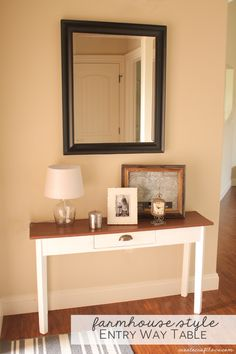Turn an old table into this Farmhouse Style Entry Way Table