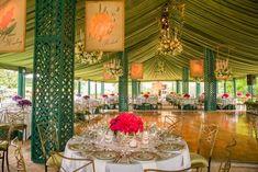 The Chicago Botanic Garden's Summer Dinner Dance.  Lattice covered tent poles. Birdcage chandeliers.  Moss colored tent liner.