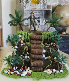 Indiana Jones cake made with Twix and rock candy