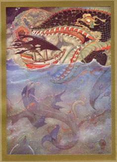 Sindbads ship is attacked by giant fish - 1001 Nights