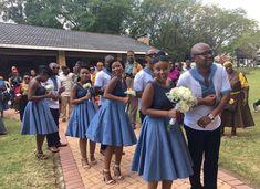 African Shweshwe Wedding Dresses For Ladies - Pretty 4 African Bridesmaid Dresses, African Wedding Attire, African Attire, African Traditional Wedding Dress, Traditional Outfits, Traditional Weddings, African Fashion Skirts, African Dresses For Women, Seshweshwe Dresses