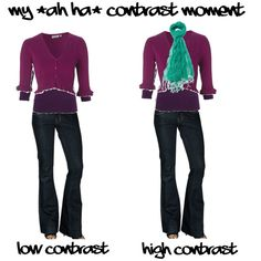 Making a low colour contrast outfit into a high one, with a contrasting colour accessory