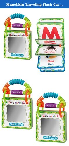 Munchkin Traveling Flash Cards, 2 Pack. With the help of these colorful Traveling Flash Cards, your little one will be learning animals, shapes, colors and numbers in English and Spanish in no time! 40 cards have 80 stimulating and memorable images to help kids learn. The images of real animals are a fun way to practice sounds and learn about the world around them. And, the easy-grasp handle allows kids to use them on their own. A handy holder keeps flash cards together. Great for kids 3+...