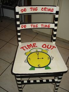 time out chair- HA!! love it! i can see needing this is the future with our busy little guy. ;) @ in-the-cornerin-the-corner