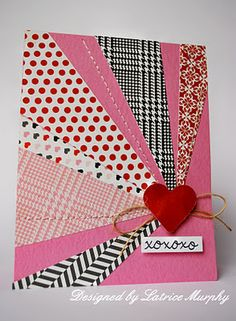 good for quilters themed card.did a version of this for becky's bd and used a felt sewing machine die for focal more in the center Hand Made Greeting Cards, Greeting Cards Handmade, Cool Cards, Diy Cards, Scrapbook Cards, Scrapbooking, Inchies, Valentine Love Cards, Fabric Postcards