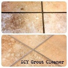 Clean grout-- equal parts baking soda, salt and vinegar. Let sit for 20 minutes then scrub! by cathy.caffey