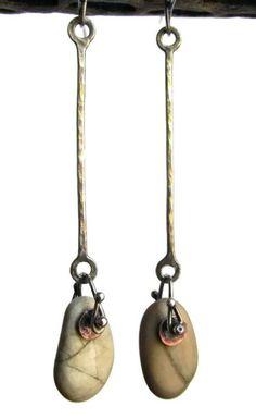 Earrings  Sterling Silver  Copper  Beach Stones