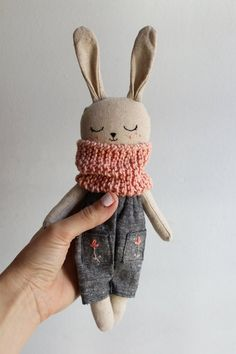 Stuffed Woodland Rabbit cuddling plush primitives toy rag doll Easter bunny recycled jeans wool handmade eco gift art country doll animal