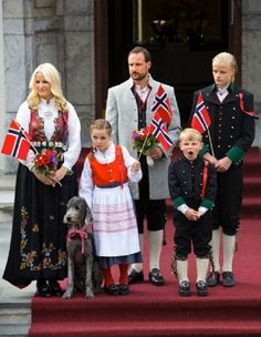 Crownprince Haakon, Crownprincess Mette-Marit, Princess Ingrid Alexandra, Prince Sverre Magnus, Marius of Norway and dog Mille Kakao celebrate the National Day at their residence in Skaugum, Norway, 17 May 2013