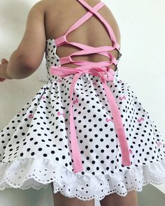 doll dress patterns Items similar to Toddler girls white black polkdot pink bow corset style tie up open back baby doll dress on Etsy Frocks For Girls, Little Girl Outfits, Little Girl Dresses, Kids Outfits, Girls Dresses, Baby Girl Dress Patterns, Doll Dress Patterns, Baby Dress, Kids Dress Wear