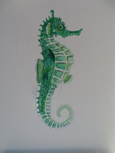 Watercolour seahorse painting by Frances White
