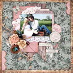 Swirlydoos Scrapbook Kit Club: More *Beloved* layouts with Kim using the… Wedding Scrapbook Pages, Love Scrapbook, School Scrapbook, Vintage Scrapbook, Scrapbook Journal, Scrapbook Page Layouts, Scrapbook Cards, Scrapbooking Ideas, Altered Canvas