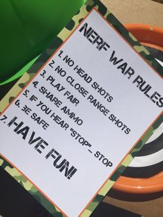 Nerf War Birthday Party Rules, could send in the invitations Halo Birthday Parties, Nerf Birthday Party, Nerf Party, Zombie Party, 8th Birthday, Birthday Ideas, Camo Birthday, Camouflage Party, Camo Party