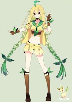 human version gijinka pokemon, leafeon