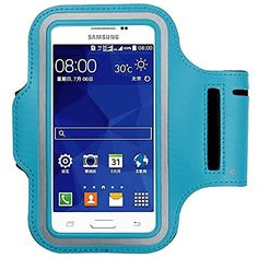 """myLife Cyan Blue , Black and White {Rain Resistant Velcro Secure Running Armband} Dual-Fit with Key Slot Jogging Arm Strap Holder for Samsung Galaxy S5 """"All Ports Accessible"""" myLife Brand Products http://www.amazon.com/dp/B00SLV07MQ/ref=cm_sw_r_pi_dp_DtG-ub0F152EH"""