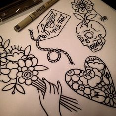 holding the hand skulls traditional tattoo flash flower tattoo flash ...