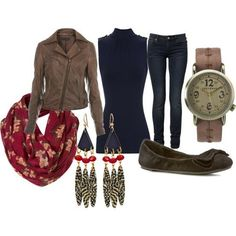 outfit, blue, brown