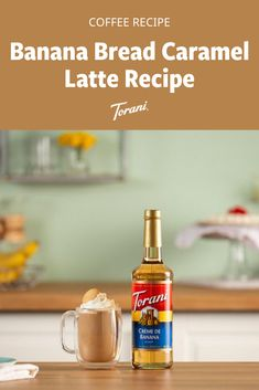 looking for a new caramel latte recipe to try? This latte recipe combines the flavors of banana bread with coffee. This latte recipe is made with Torani syrups and can be made easily at home. Grab our full latte recipe here! Banana Syrup, Banana Bread, Coffee Drink Recipes, Coffee Drinks, Torani Syrup, Caramel Latte, Latte Recipe, Cold Brew, Iced Coffee
