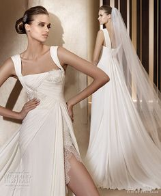 Elie Saab wedding dresses 2011 - Atalanta sheath gown with high slit and thick straps