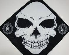 """Grinning Skull Bandana 22"""" x 22"""" 100% Cotton"""