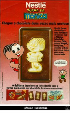 Informe Publicitário Casa da Traça | Especial Dia das Crianças.      Chocolate Turma da Mônica.  Nestlé, 1993.