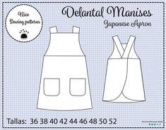 DELANTAL MANISES japanese apron patron de delantal japones | Etsy Japanese Apron, Couture, Pattern, Etsy, Gifs, Molde, Outfits, Apron Patterns, Pinafore Dress